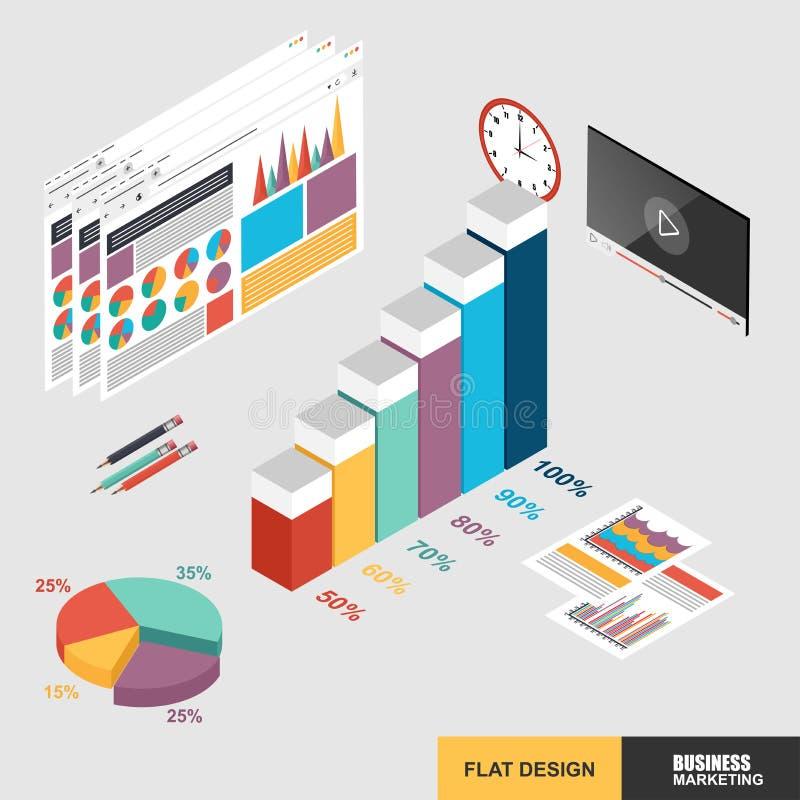 Vendita isometrica piana di web di concetto di progetto 3d per l'analisi dei dati illustrazione vettoriale