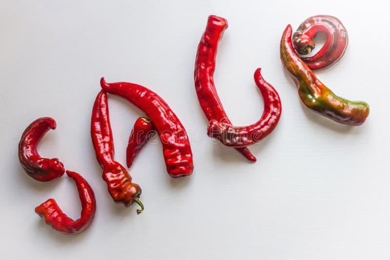Vendita, lettere da peperone fotografia stock