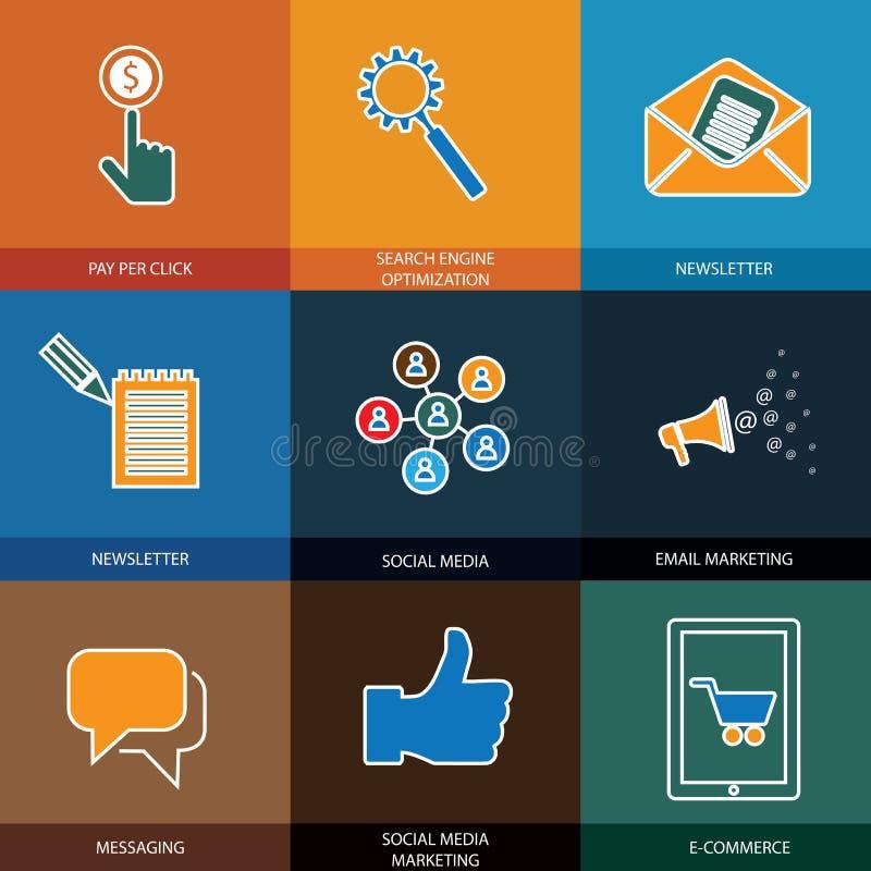 Vendita, media sociali, seo & commercio elettronico - icone di vettore di concetto illustrazione vettoriale