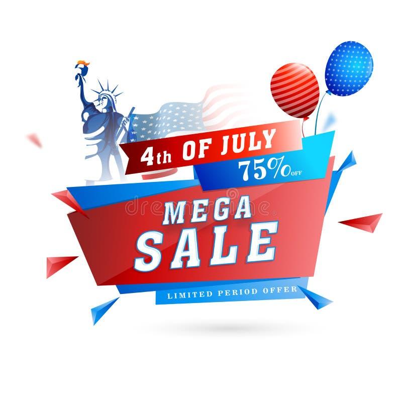 Vendita mega, fino a 75% fuori per il quarto luglio, indipendenza americana D illustrazione di stock