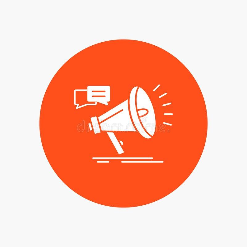 vendita, megafono, annuncio, promo, icona bianca di glifo di promozione nel cerchio Illustrazione del bottone di vettore illustrazione di stock