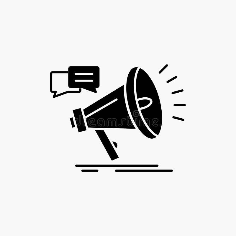 vendita, megafono, annuncio, promo, icona di glifo di promozione Illustrazione isolata vettore illustrazione vettoriale