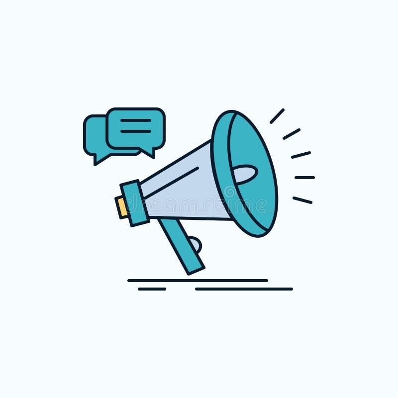 vendita, megafono, annuncio, promo, icona piana di promozione segno e simboli verdi e gialli per il sito Web ed il cellulare illustrazione vettoriale