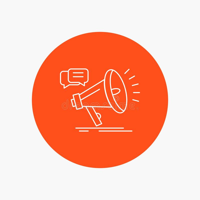 vendita, megafono, annuncio, promo, linea bianca icona di promozione nel fondo del cerchio Illustrazione dell'icona di vettore illustrazione vettoriale