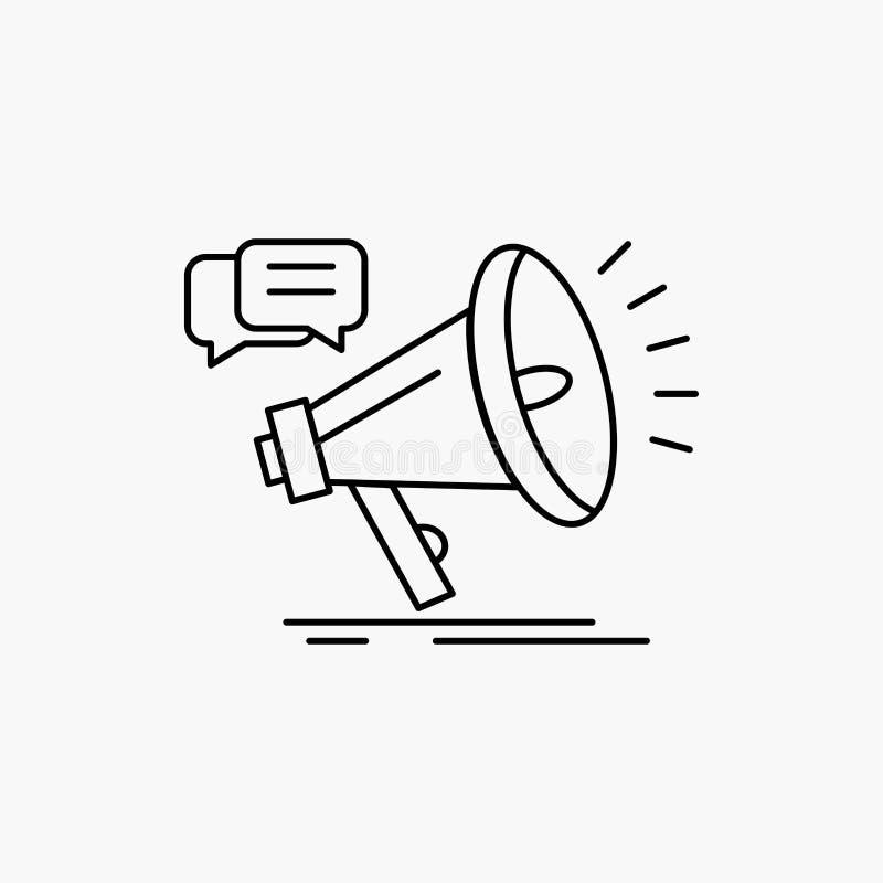 vendita, megafono, annuncio, promo, linea icona di promozione Illustrazione isolata vettore illustrazione di stock