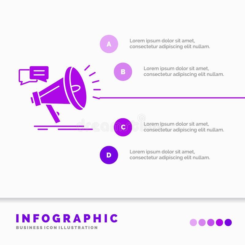 vendita, megafono, annuncio, promo, modello di Infographics di promozione per il sito Web e presentazione Icona porpora di glifo illustrazione di stock