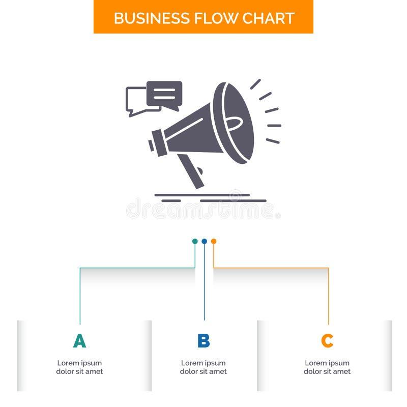 vendita, megafono, annuncio, promo, progettazione del diagramma di flusso di affari di promozione con 3 punti Icona di glifo per  royalty illustrazione gratis