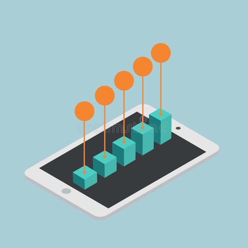 Vendita mobile isometrica di concetto moderno di vettore infographic illustrazione vettoriale