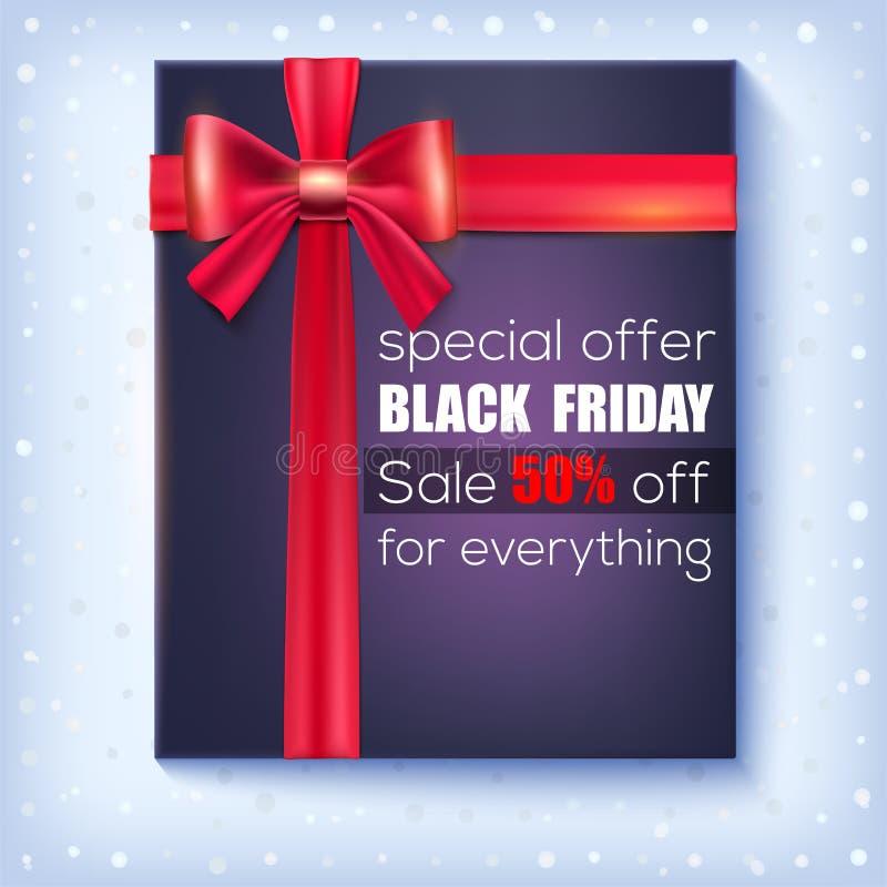 Vendita nera di venerdì Offerta speciale 50 per cento fuori Contenitore di regalo nero con il nastro rosso ed arco su fondo nevos illustrazione vettoriale