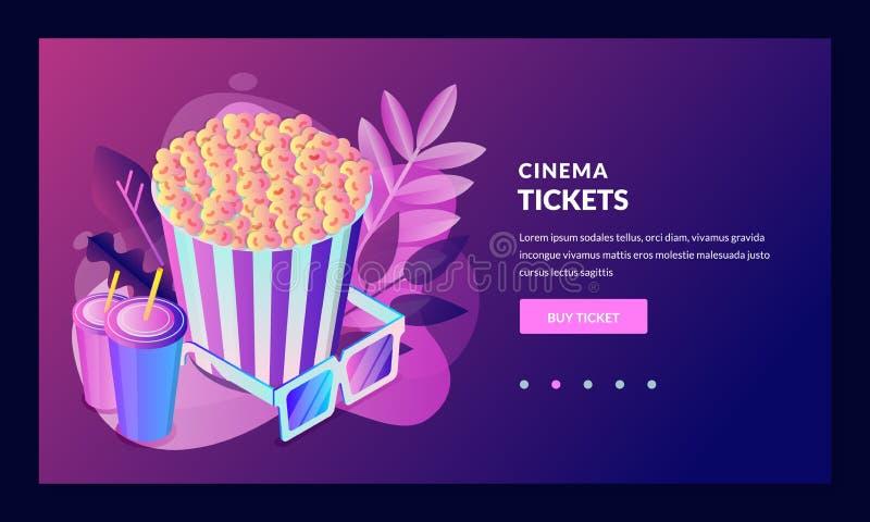 Vendita online dei biglietti di film, insegna, modello del manifesto Elementi isometrici di progettazione di vettore 3d Illustraz royalty illustrazione gratis