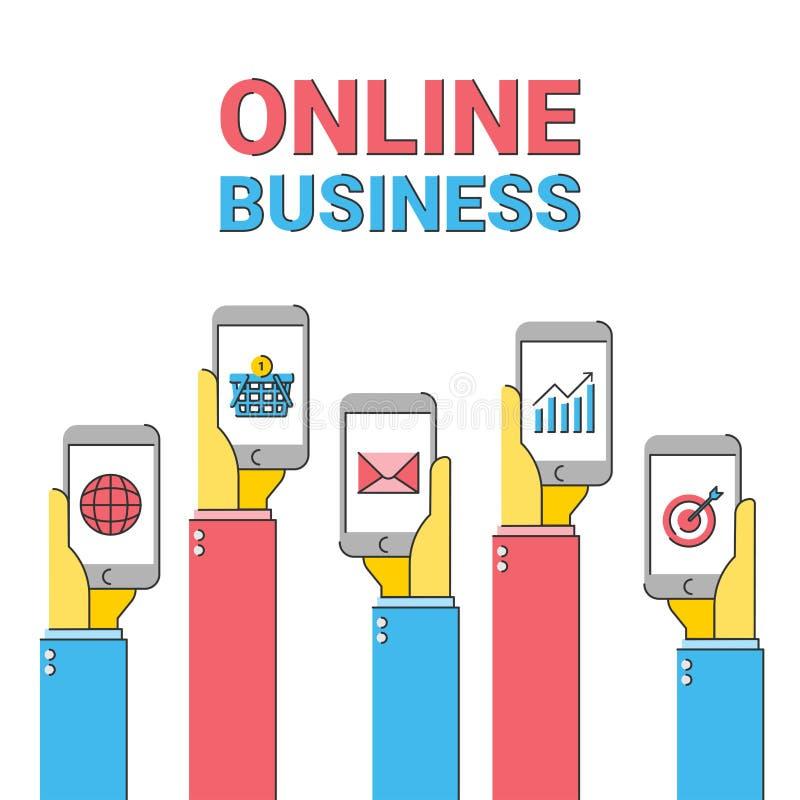 Vendita online di affari del deposito, lavoro di squadra sociale di media di Internet, ottimizzazione di seo illustrazione di stock