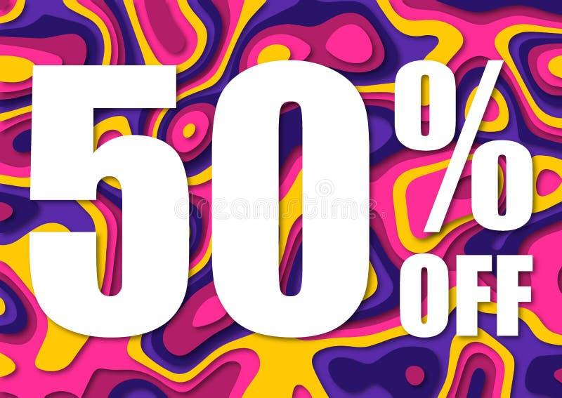 Vendita 50 per cento fuori Taglio di carta con la vendita 50% delle foglie su fondo scuro Fondo di vendita unico per l'aletta di  illustrazione vettoriale