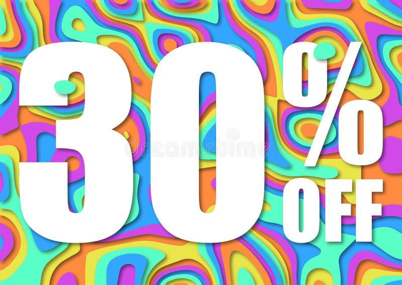 Vendita 30 per cento fuori Taglio di carta con la vendita 30% delle foglie su fondo scuro Fondo di vendita unico per l'aletta di  illustrazione vettoriale