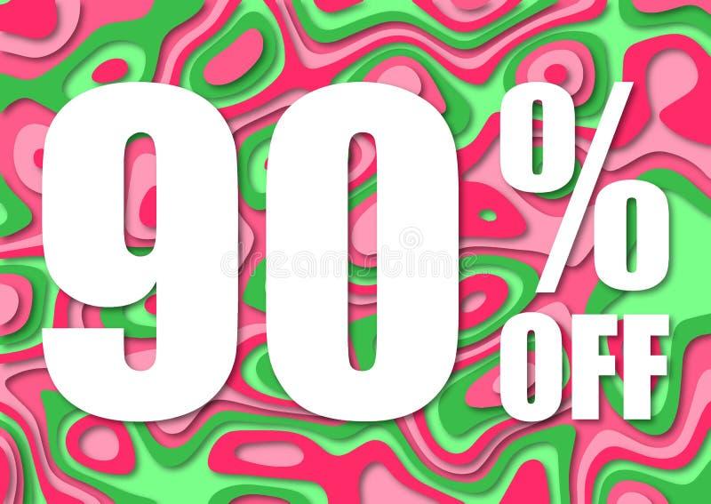 Vendita 90 per cento fuori Taglio di carta con la vendita 90% delle foglie su fondo scuro Fondo di vendita unico per l'aletta di  illustrazione vettoriale