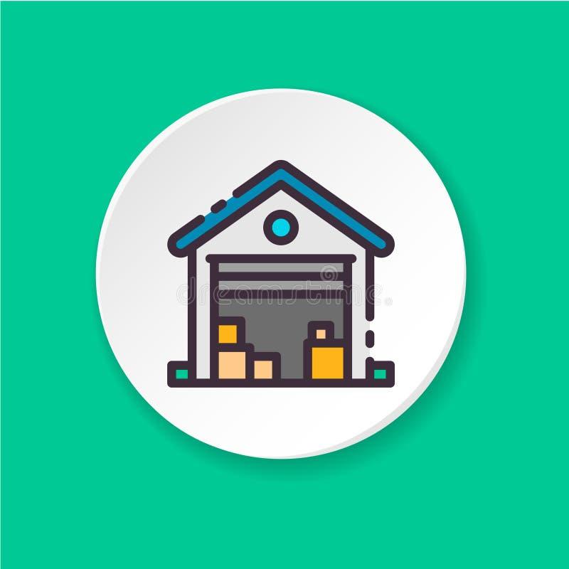 Vendita piana del garage dell'icona di vettore muoversi illustrazione di stock