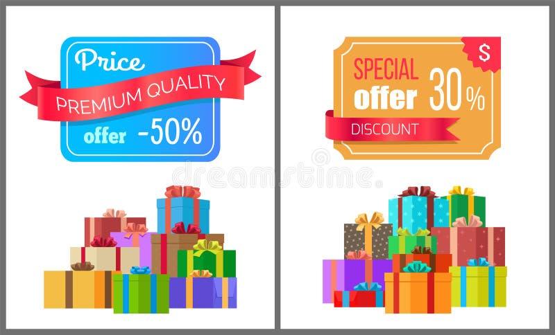Vendita premio di esclusiva dello speciale di offerta di qualità di prezzi illustrazione di stock