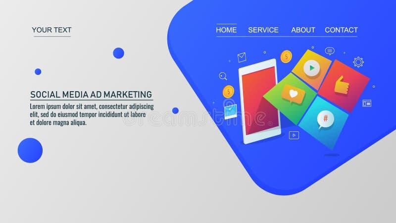 Vendita sociale di media, icone sociali che escono dal telefono cellulare illustrazione di stock