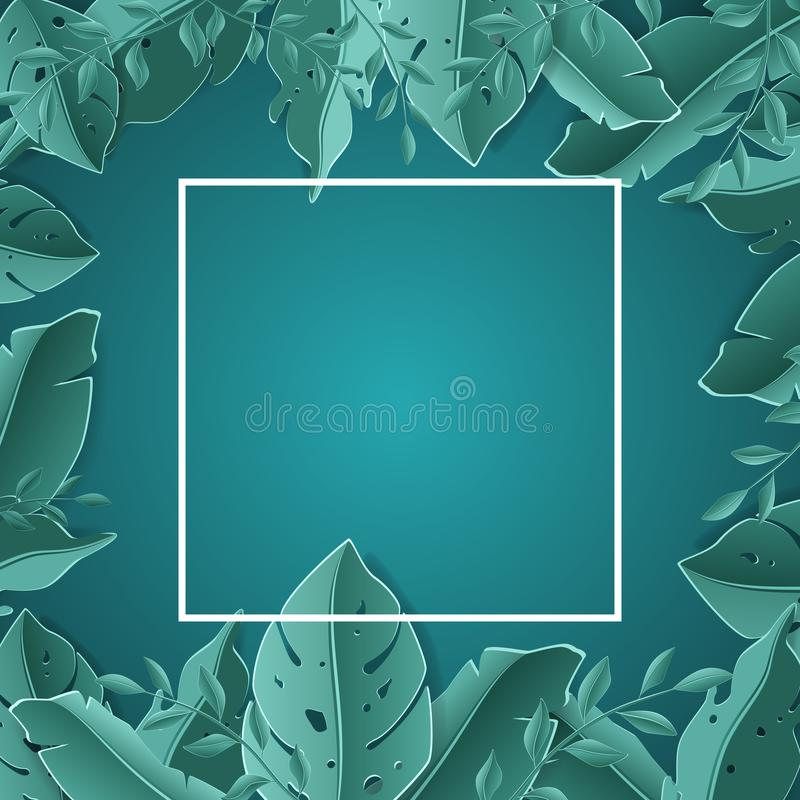 Vendita tropicale dell'insegna della foglia di estate Stile stagionale del taglio della carta di pubblicità di progettazione illustrazione vettoriale