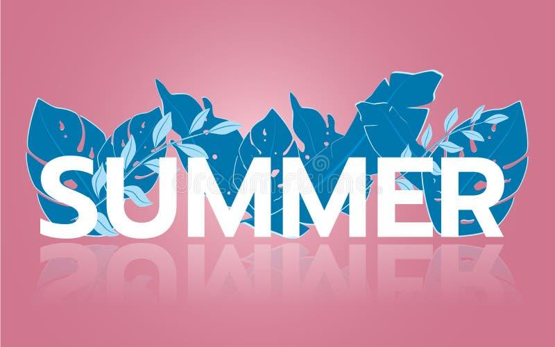 Vendita tropicale dell'insegna della foglia di estate Stile stagionale del taglio della carta di pubblicità di progettazione illustrazione di stock