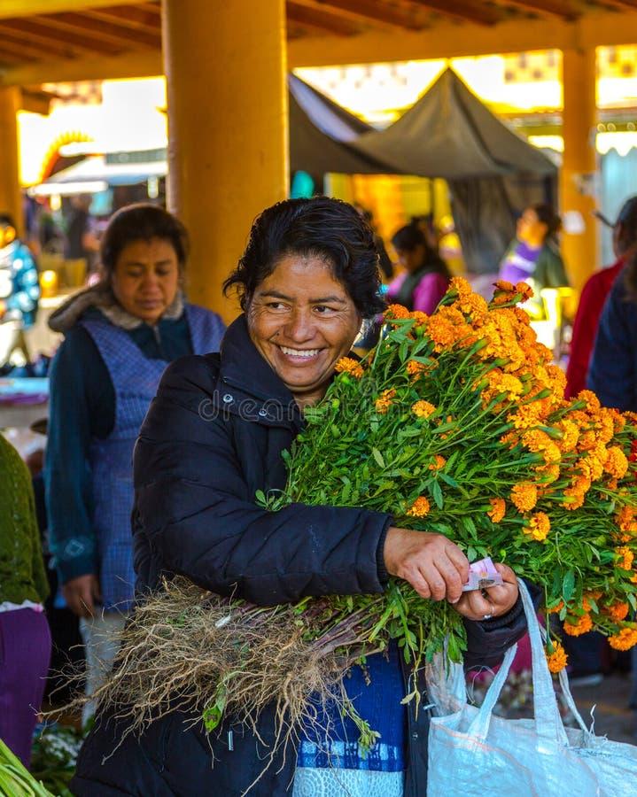 Vendite del mercato del fiore fotografia stock