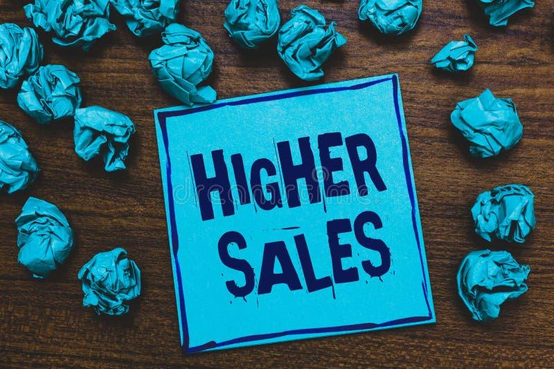 Vendite del testo di scrittura di parola più alte Il concetto di affari per i prodotti ed i servizi venduti medii di una società  immagine stock