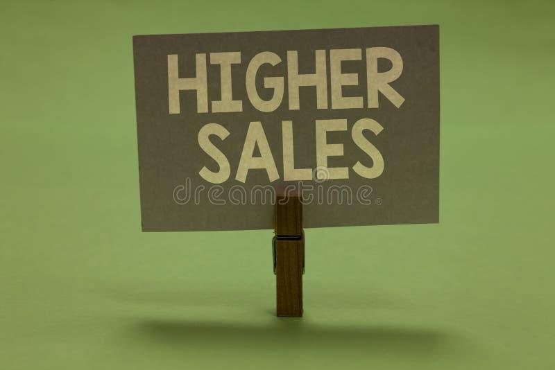 Vendite del testo di scrittura di parola più alte Il concetto di affari per i prodotti ed i servizi venduti medii di una società  fotografia stock