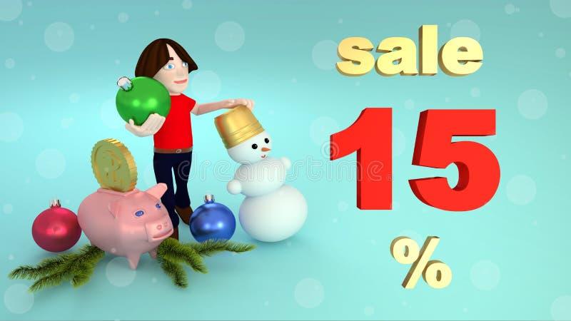 Vendite di Natale e del nuovo anno 15 per cento rappresentazione 3d illustrazione vettoriale