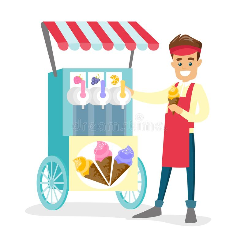 Venditore ambulante bianco caucasico che vende il gelato illustrazione vettoriale