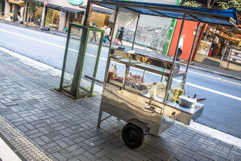 Venditore ambulante del popcorn su Augusta Street, Sao Paulo del centro immagine stock libera da diritti