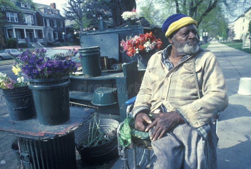 Venditore andicappato del fiore del African-American immagini stock libere da diritti