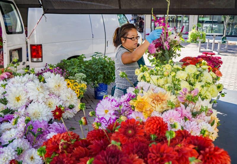 Venditore di fiore - mercato della città di Roanoke immagini stock libere da diritti
