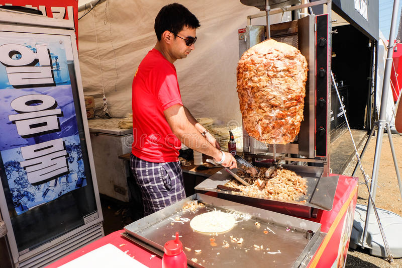Venditore di kebab fotografie stock libere da diritti