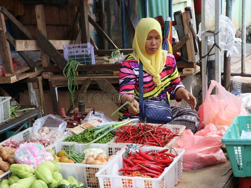 Venditore di verdure delle donne musulmane indonesiane che indossa un velo e che vende verdura nel mercato al porto di Muara Angk fotografie stock libere da diritti