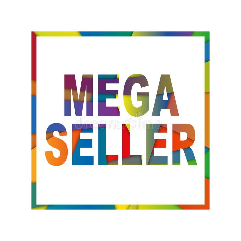 Venditore mega tagliato di carta delle lettere Multi effetto realistico del papercut di strati 3D isolato su fondo bianco illustrazione di stock