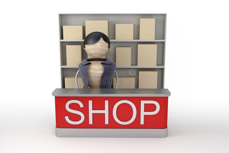 Venditore nel negozio royalty illustrazione gratis