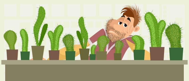 Venditore triste del cactus illustrazione vettoriale
