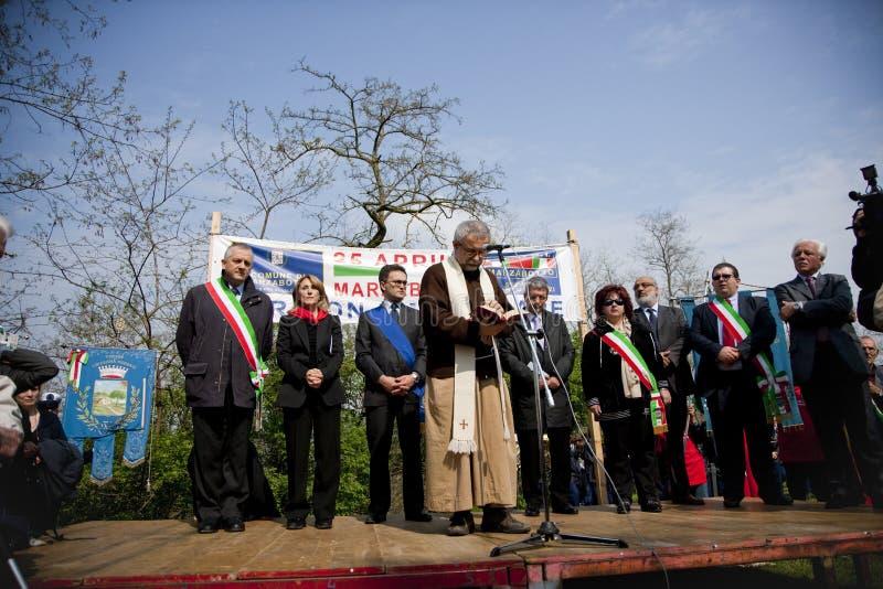 Vendola chez le 25 avril 2010 Italie, marzabotto photographie stock