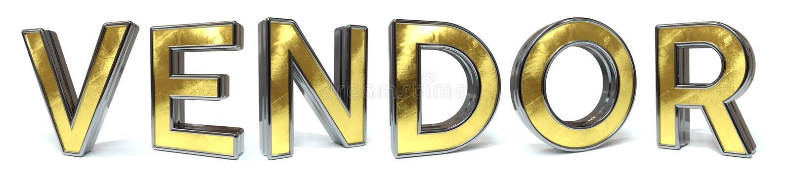 Vendor golden text. Vendor 3d rendered gold and silver color text on white royalty free illustration