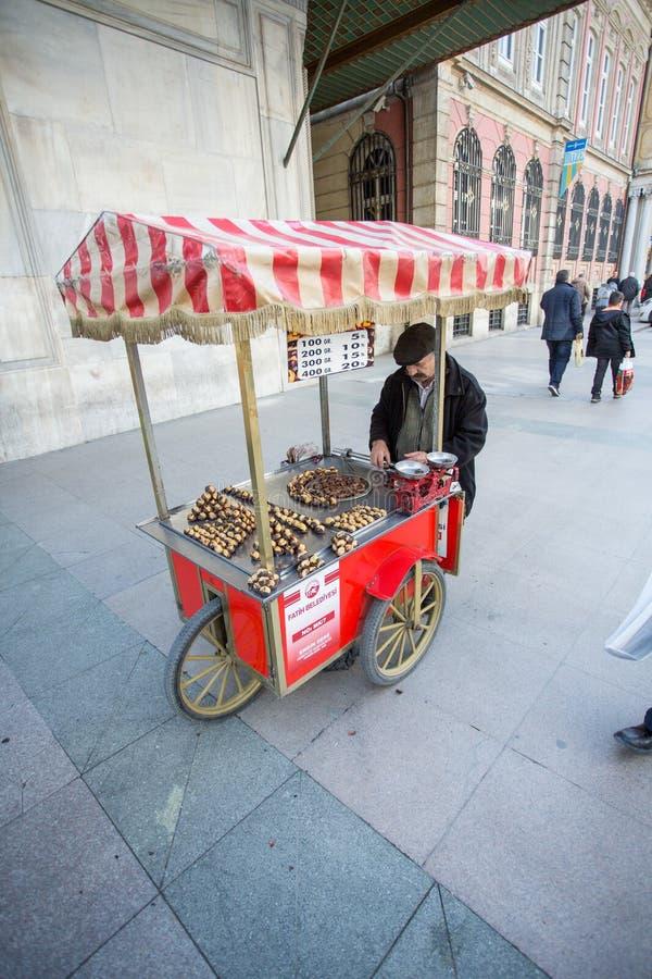 A Vendor Sells Food on a Street Corner. A street vendor sells warm food items in Istanbul, Turkey stock image