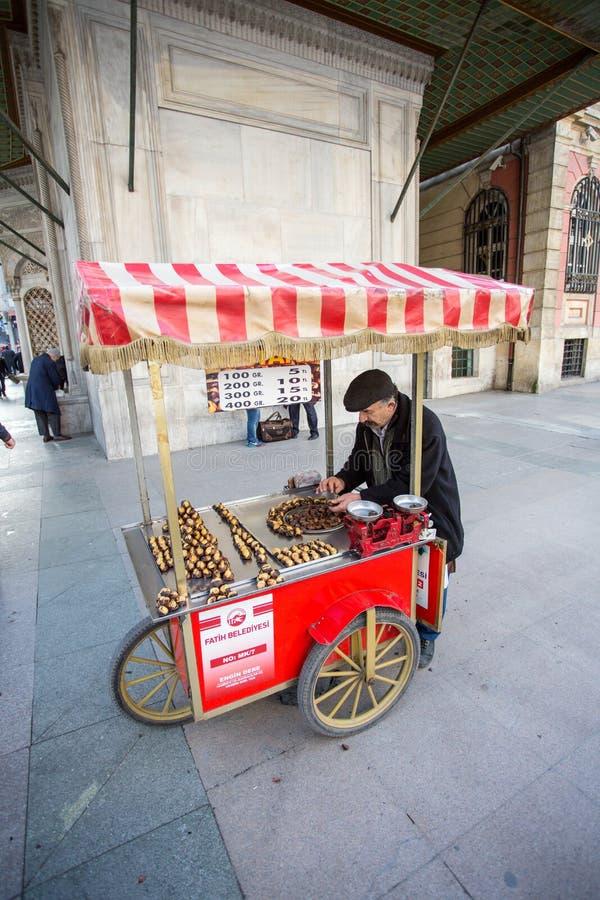 A Vendor Sells Food on a Street Corner. A street vendor sells warm food items in Istanbul, Turkey stock photos