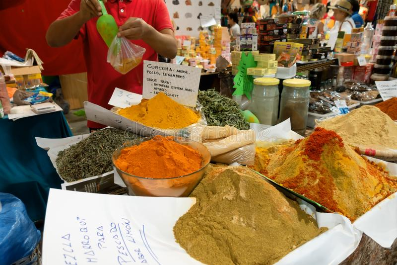 A vendor sells spices in the Trade Fair of Gijon 2018. August 16, 2018. Spain stock photos