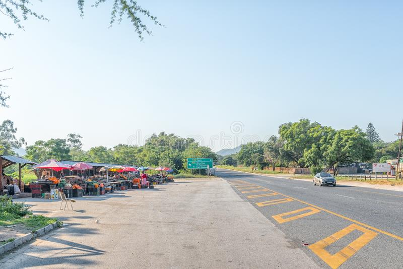 Vendor stalls next to road N4 between Nelspruit and Malalane. NELSPRUIT, SOUTH AFRICA - MAY 3, 2019: Vendor stalls next to road N4 between Nelspruit and Malalane royalty free stock photography