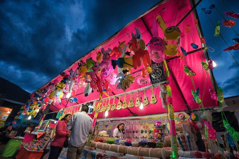 Vendor stand at night in Villa de Leyva stock images