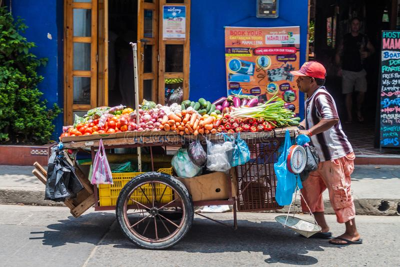 Vendor with the vegetable cart stock image