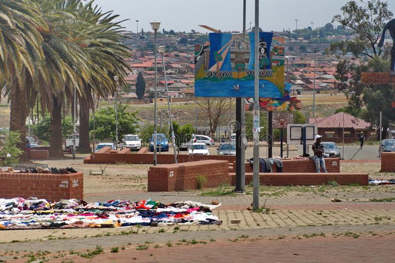 Vendors in a park. In Soweto, the township south of Johannesburg, South Africa stock photo