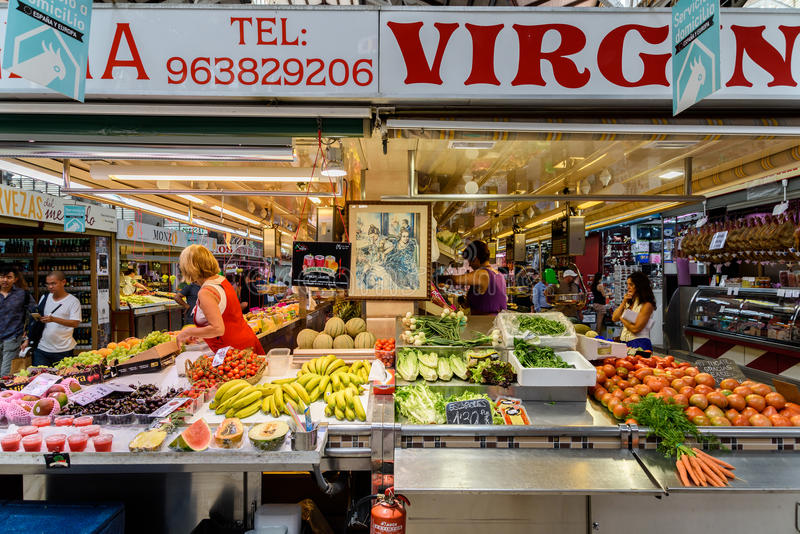 Vendors Selling Fresh Fruits In Mercado Central stock photo