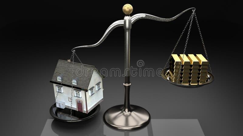 Vendre trop cher des propriétés mène aux hypothèques et aux prêts risqués Logez le revenu et l'épargne de famille d'overweigh de  illustration libre de droits