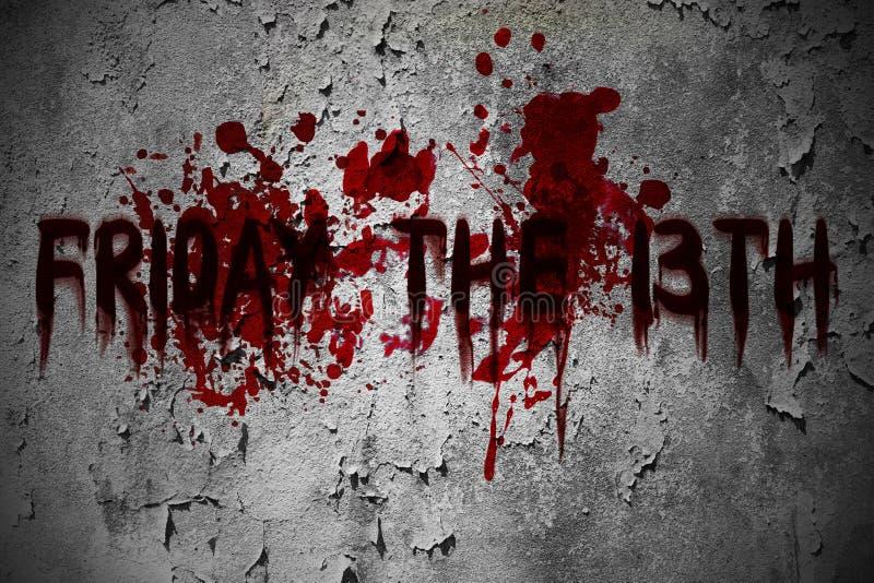 Vendredi le texte grunge effrayant de sang de 13ème horreur image stock