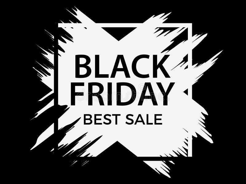 Vendredi noir Drapeau de vente Fond avec la peinture d'encre Fond avec des courses de peinture, style grunge illustration de vecteur