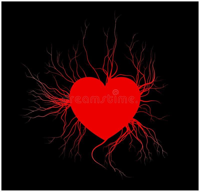 Vene umane con cuore, progettazione rossa del biglietto di S. Valentino dei vasi sanguigni di amore Illustrazione di vettore su p illustrazione vettoriale